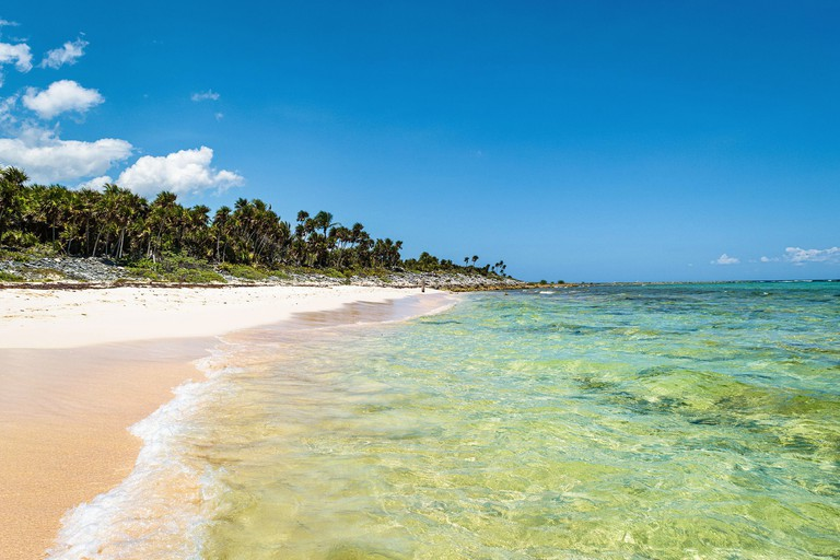 Tropical Xcacel beach on the Caribbean Sea coast. Marine turtles reserve. Beautiful tropical landscape, Quintana Roo, Mexico.