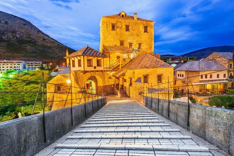 Mostar, Bosnia & Herzegovina. Stari Most, old ottoman bridge and o the old city, Balkan Peninsula.