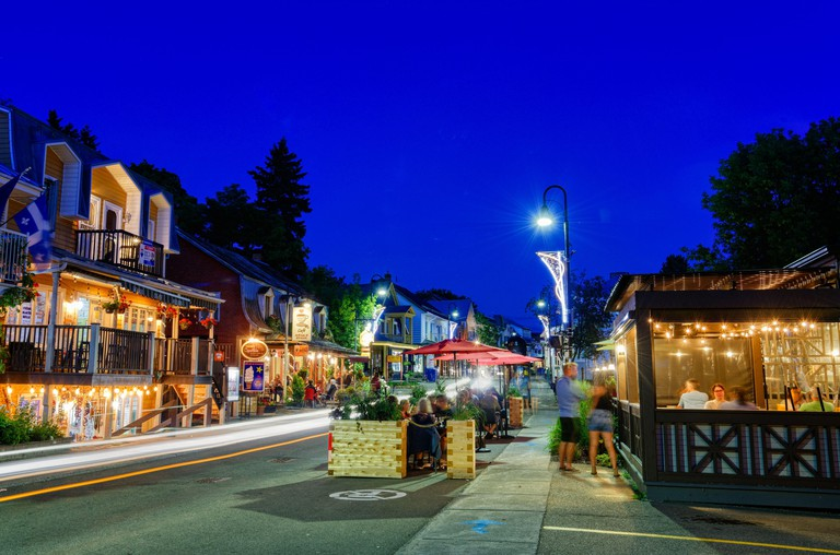 Rue ST Jean Baptiste in Baie-St-Paul, Charlevoix, Quebec, Canada at night