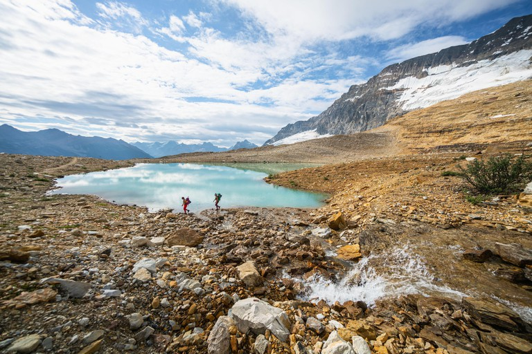 Two Females Exploring The Iceline Trail in Yoho National Park