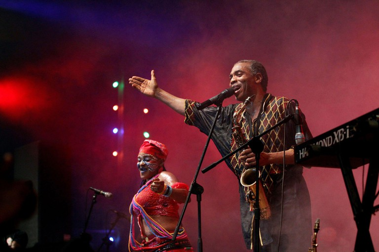 Afrobeat musician Femi Kuti performs at the annual musical celebration in honour of Nigeria's music icon Fela Kuti at the New Afrika Shrine in Lagos, Nigeria, early October 17, 2016. REUTERS/Akintunde Akinleye
