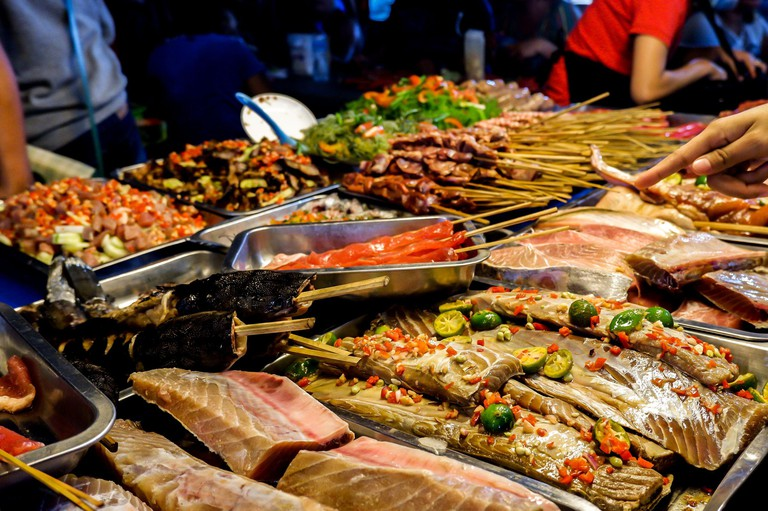 Seafood and Meat Choices at Baguio Night Market
