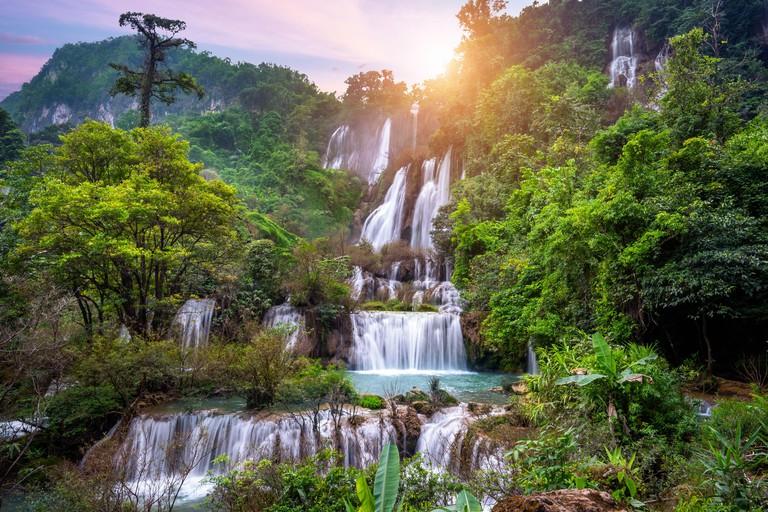 Thi Lo Su (Tee Lor Su) in Tak province. Thi Lo Su waterfall the largest waterfall in Thailand.