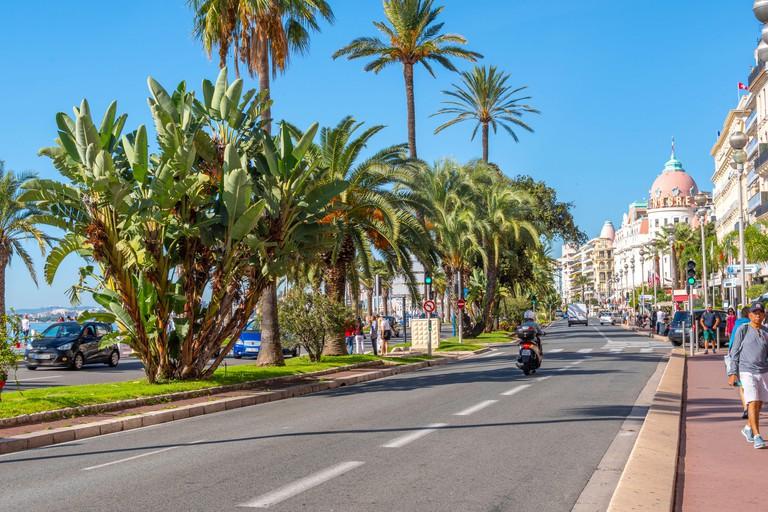 The main street Promenade des Anglais that runs along the French Riviera at Nice