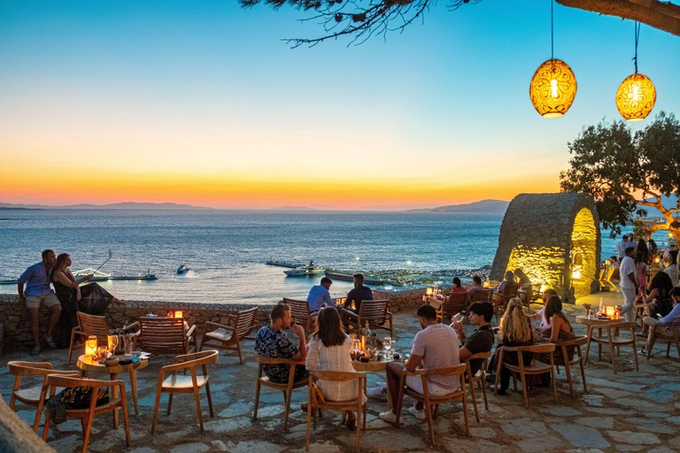 Greece, Cyclades, Mykonos Island, the town of Chora from the Sunset 180 bar