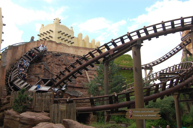 2D5537F Roller coaster in the Phantasialand in Cologne-Bruehl, Germany