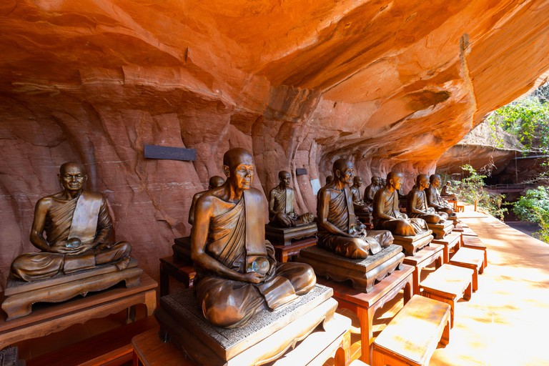 2DA3PNE Traditional Thai religion buddha monk statues at Wat Phu Tok, Bueng Kan, Thailand