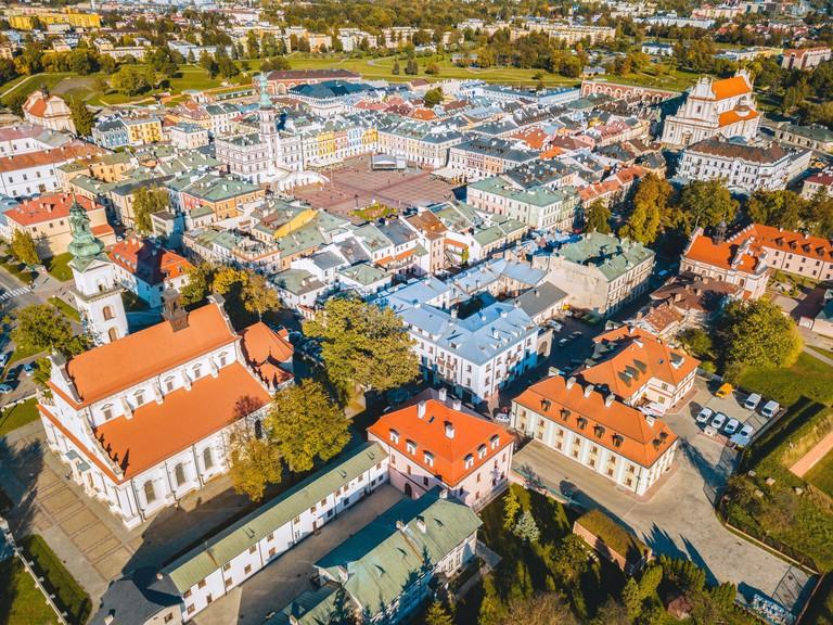 Panorama of Zamosc. Zamosc, Lublin, Poland.