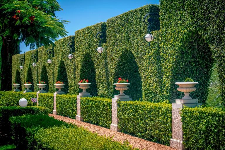 A beautiful shot of well-groomed Bahai Gardens of Bahji in Akko, Israel