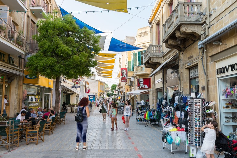 Shaded Ledras walking street with shops in the old town of Nicosia, Cyprus.