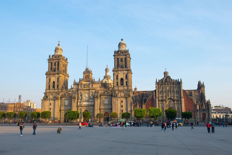 Zocalo Constitution Square and Metropolitan Cathedral at Historic center of Mexico City CDMX, Mexico. Historic center of Mexico City is a UNESCO World