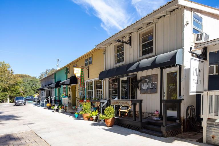 Wimberley, Texas, USA - November 3, 2020: The small shops at Wimberley Square