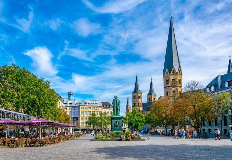BONN, GERMANY, AUGUST 12, 2018: Munsterplatz in the center of Bonn, Germany