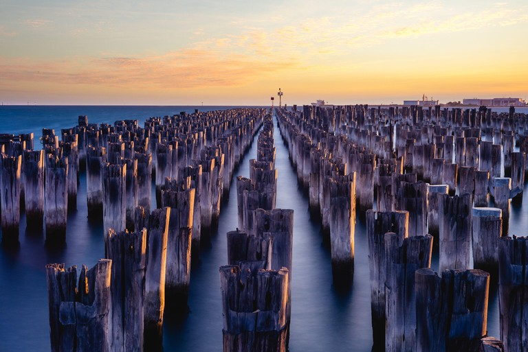 scenery of Princes Pier in melbourne at dusk