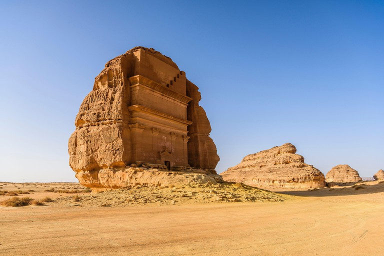 Hegra, also known as Mada?in Salih, or Al-?ijr, archaeological site, Nabatean carved rock cave tombs