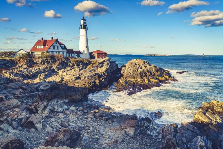 Scenic view of the historic Portland Head Light in Cape Elizabeth, Maine