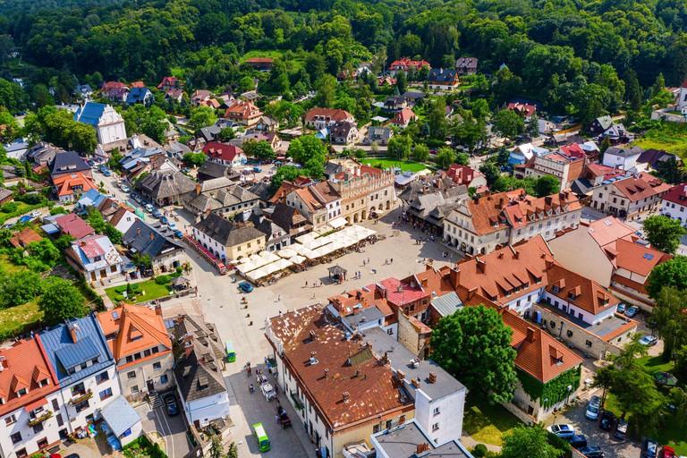 Aerial view of historic town Kazimierz Dolny nad Wisla in Poland