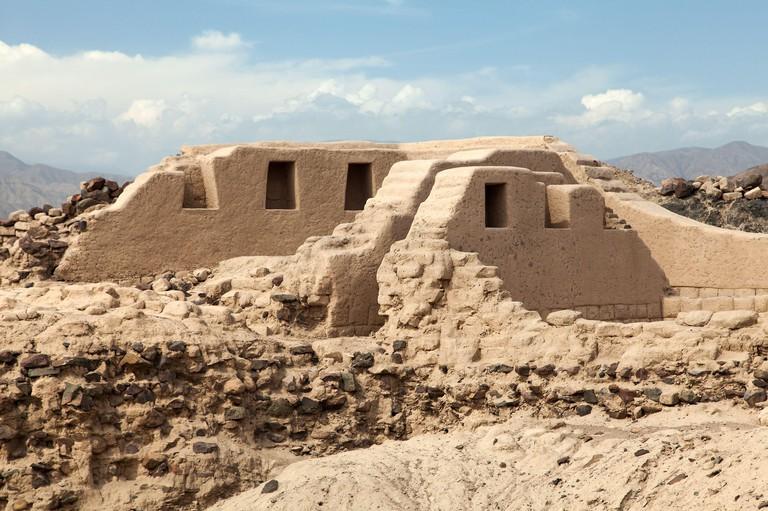 Los Paredones - historic ruins of incan castle in Nazca or Nazca town, Peru