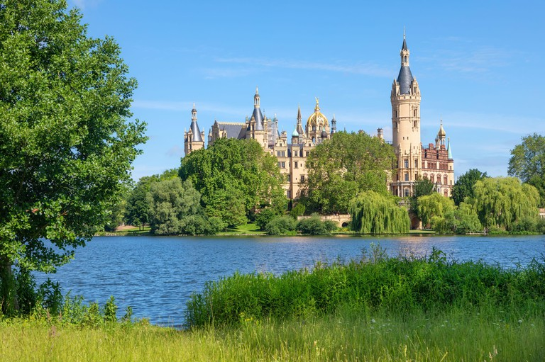 Schwerin Castle or Palace (Schweriner Schloss)  situated on an island in the city's main lake, Lake Schwerin