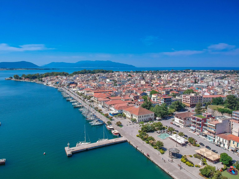 Aerial scenic view of the famous Preveza city port and boats in spring time. Preveza is a beautiful town in the region of Epirus, northwestern Greece,