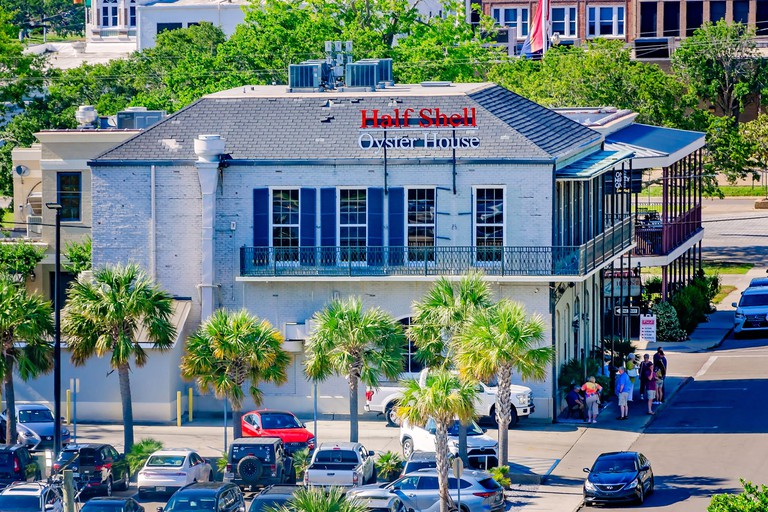 The Half Shell Oyster House is pictured in this aerial view, May 8, 2021, in Biloxi, Mississippi.