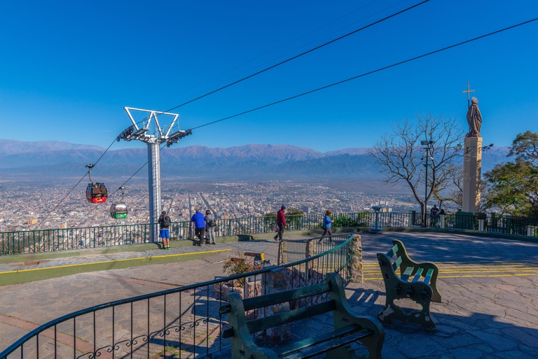 On top of the hill Cerro San Bernardo, final station of the cable car Teleferico San Bernado, colonial city of Salta in NW Argentina, Latin America