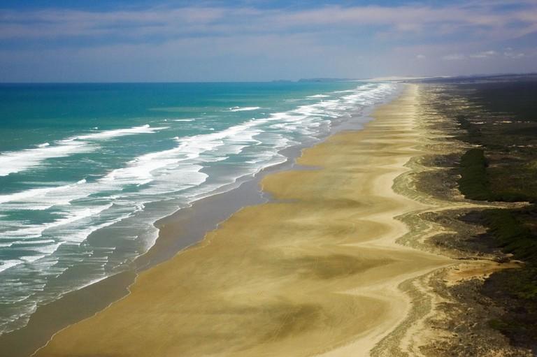 Ninety Mile Beach Northland New Zealand aerial