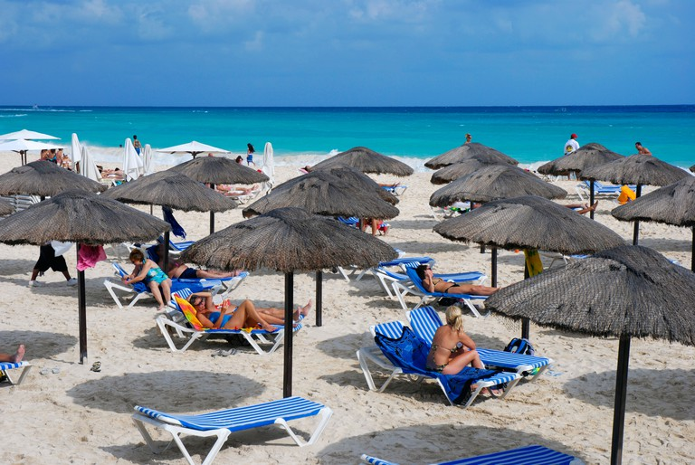 Mamita?s beach club is one of many beach clubs along the beach in Playa del Carmen where you can rent a sunchair or order food