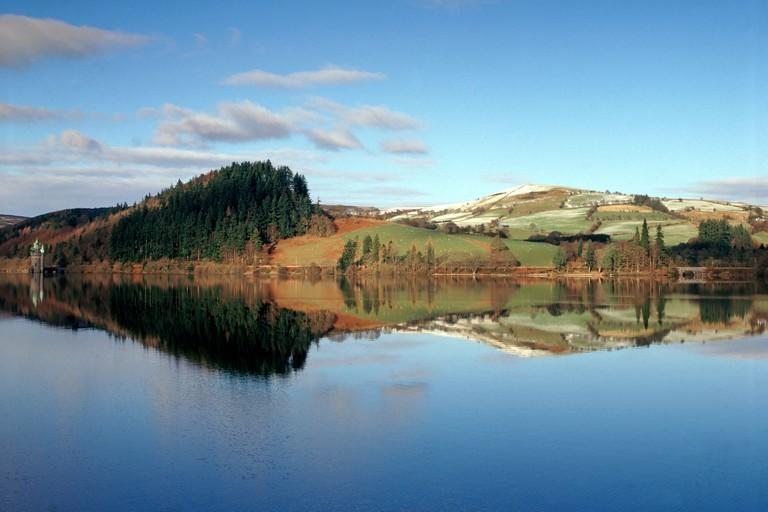 Mirror reflection, Lake Vrynwy,Wales,UK.