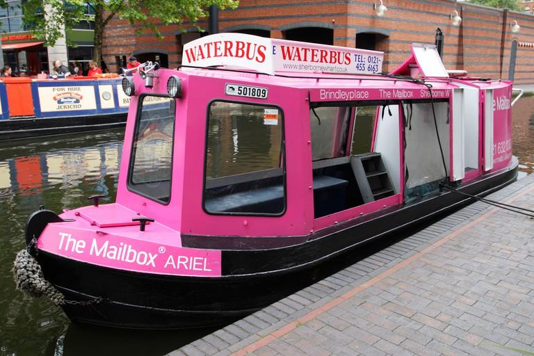 Pink Waterbus Brindleyplace Birmingham