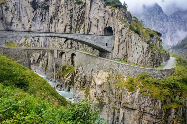 Devil's Bridge, the old and new bridge, Andermatt, Uri, Switzerland 2F6JJMA