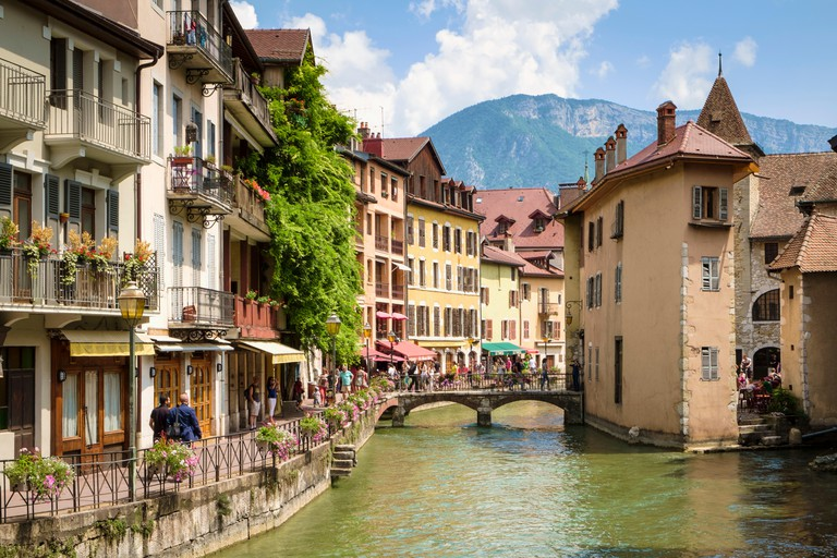 Annecy, France - Beautiful old French town of Annecy with Mont Baron mountain behind