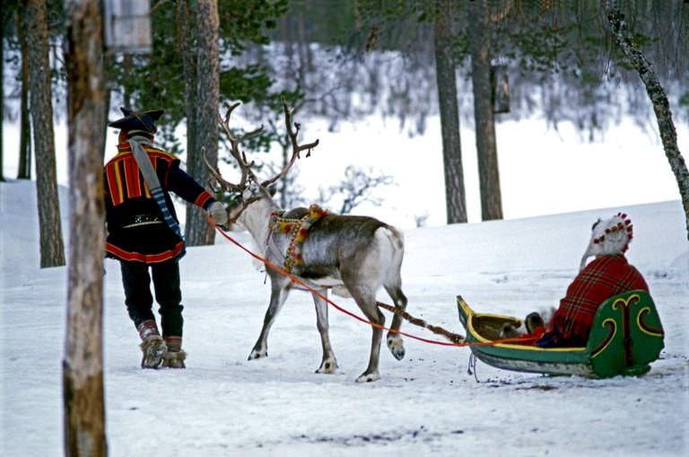 Saamis with Reindeer and Pulk