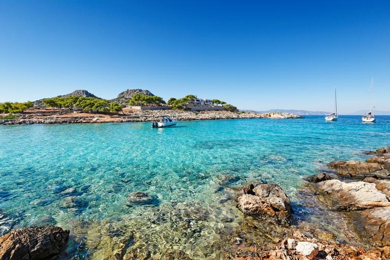 The small island Aponisos near Agistri island, Greece F9KMMN