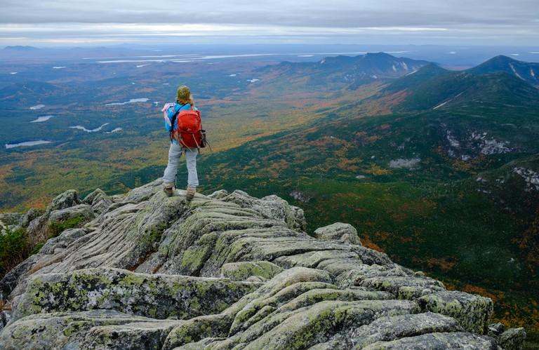 A hiker on the Hunt Trail (Appalachian Trail), Mount Katahdin, Maine