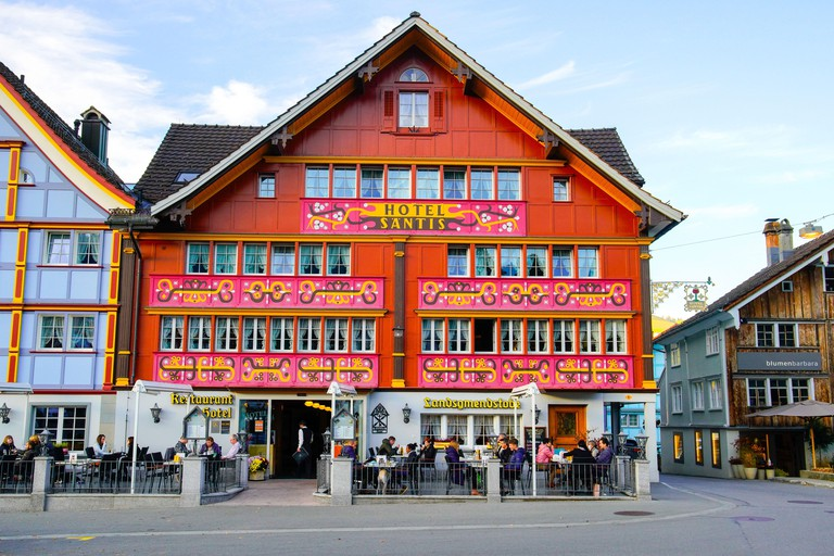 The Traditional Swiss Village of Painted Houses Appenzell. Appenzell Innerrhoden is located in northeastern Switzerland_2D9AH6N