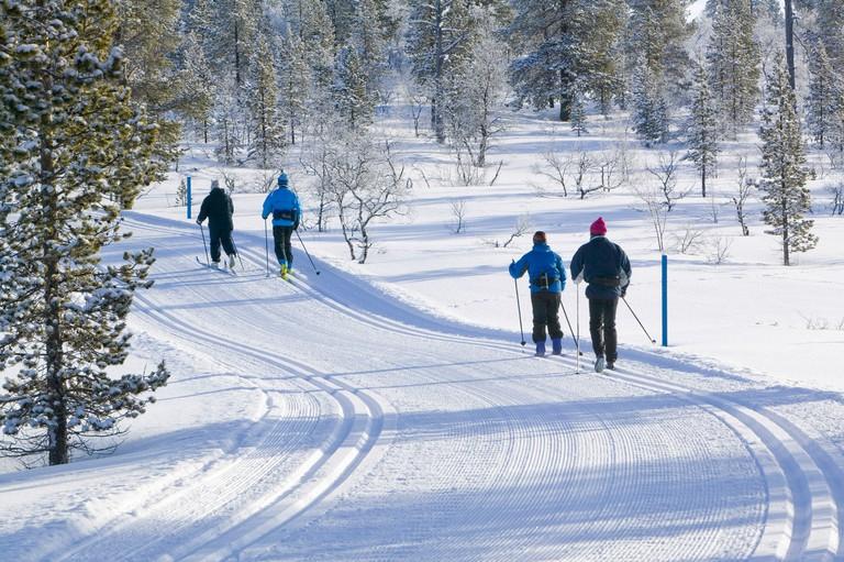 cross country skiing near Saariselka Northern Finland