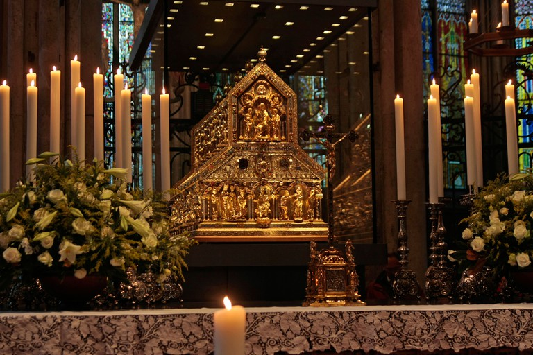 B5FNTF Shrine of the Three Kings in Cologne Cathedral Cologne North Rhine Westphalia Germany Europe