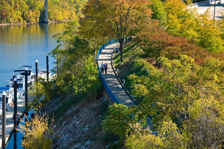 People walking along the Riverwalk beside the Tennessee River in Chattanooga Tennessee. Image shot 11/2008. Exact date unknown.