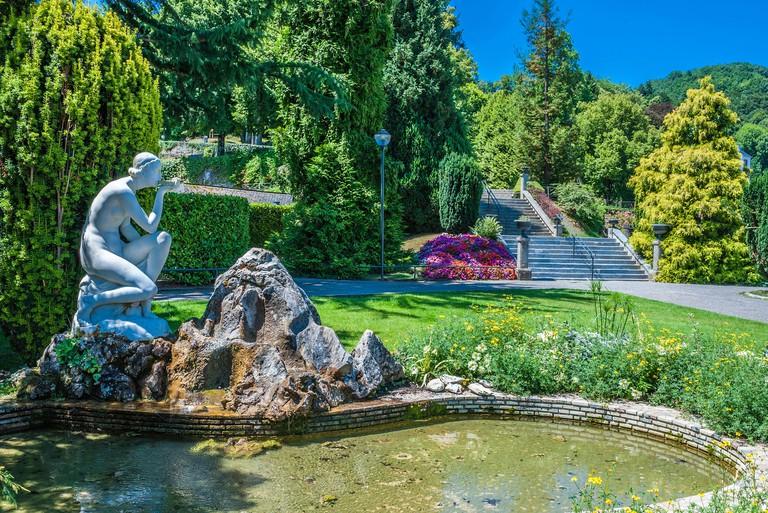 Spa town of Bagneres-de-Bigorre, view of a public park