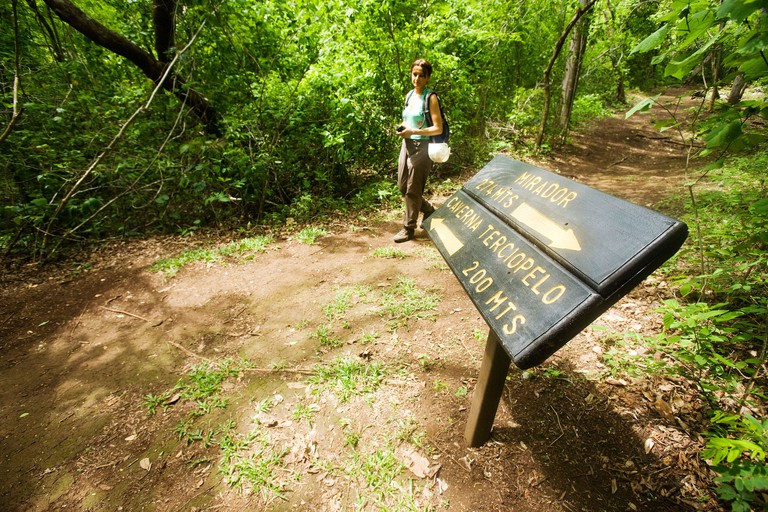 A woman walks along the trails of Barra Honda National Park in Guanacaste, Costa Rica _BGKN23