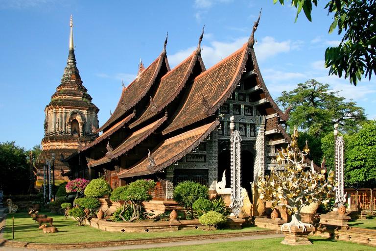 Wat Lok Molee, Wat Lok Moli, Viharn and Chedi, temple site, Chiang Mai, Thailand, Asia