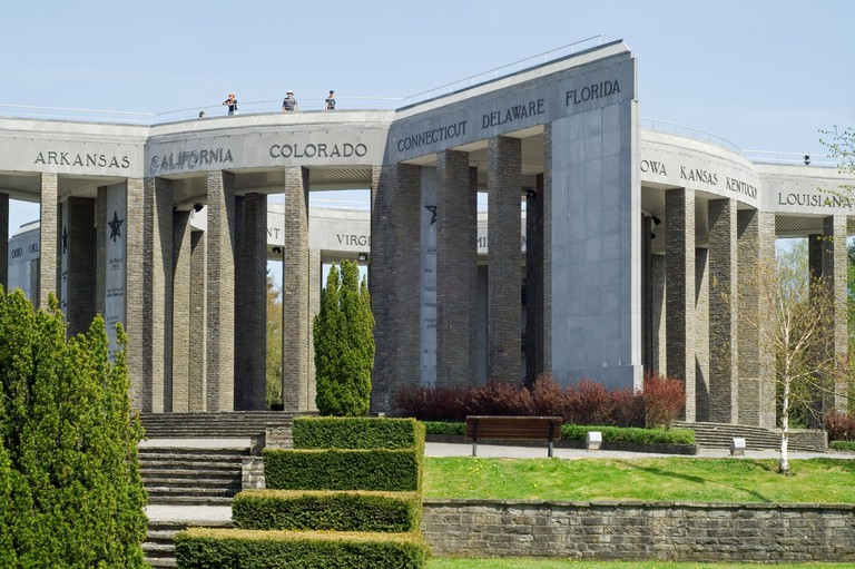 Second World War II American Memorial at the Hill of Mardasson commemorates the Battle of the Bulge, Bastogne, Ardennes, Belgium