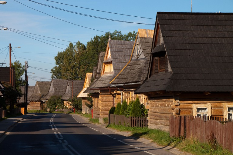 Picturesque village Chocholow with old wooden houses, Tatras Mt, Poland