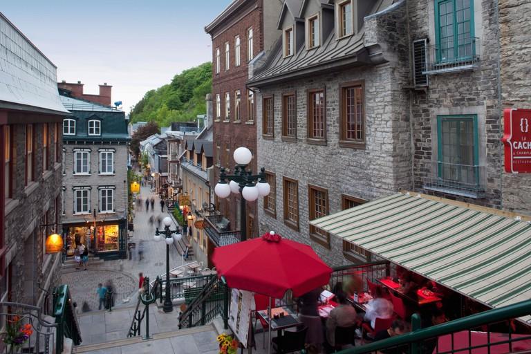 Rue du Petit-Champlain in the lower city, Quebec City, Quebec, Canada, North America