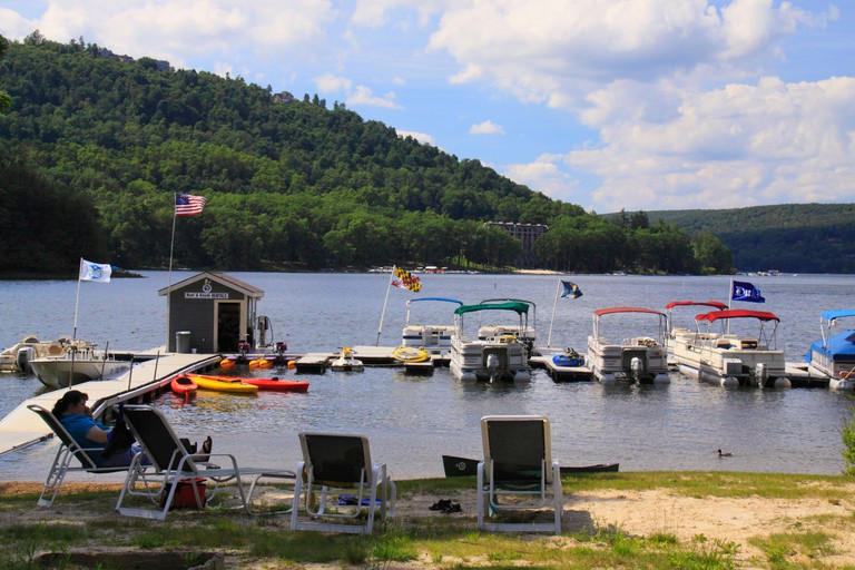 Relaxing by the water at Silver Tree Marina on Deep Creek Lake, Thayerville, Maryland, USA