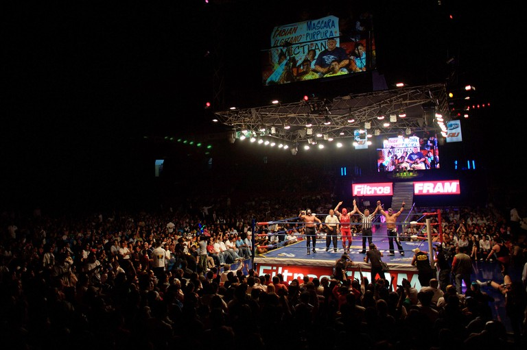 Arena Mexico ring at a Lucha Libre Wrestling show in Mexico City, July 16, 2008.