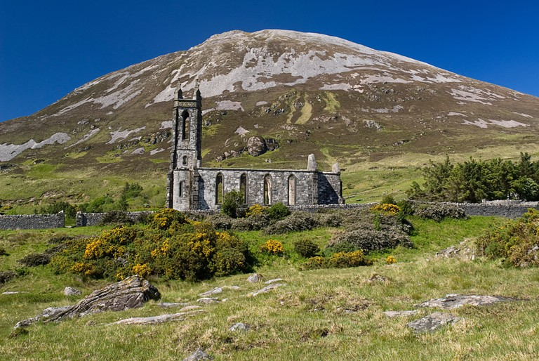 IRELAND County Donegal Gweedore Mount Errigal Viewed Poisoned Glen with old ruined church foreground