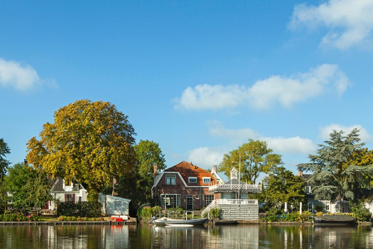 View on 't Havenrak in Broek in Waterland, a charming, historic village on a perfect summer day, North Holland, The Netherlands.