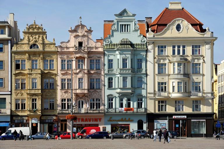 Baroque town houses, Republic Square, Pilsen, Bohemia, Czech Republic, Europe